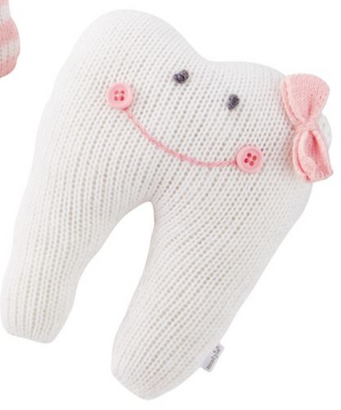 Mud Pie - Solid White with Pink Script -Tooth Fairy Knitted Pillows