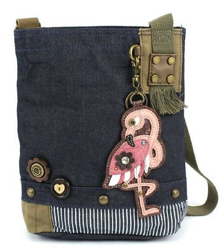 Flamingo (Denim) - Patch Crossbody Bag