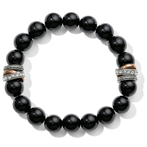 Brighton - Neptune's Rings Black Agate Stretch Bracelet