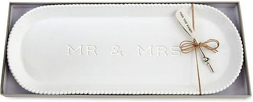 Mud Pie - Mr and Mrs Beaded Hostess Tray Set