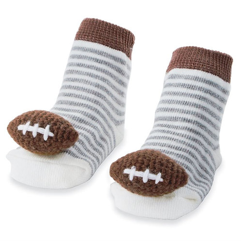 Mud Pie - Football Rattle Toes Socks