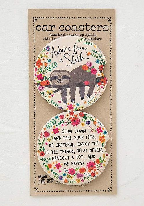Advice from a Sloth - Car Coasters