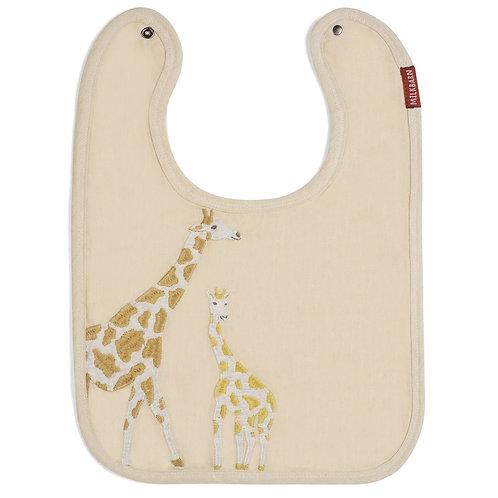 Milkbarn - Giraffe Appliqué Organic Linen Bib
