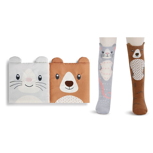 Bear and Mouse Book & Knee Sock Gift Set