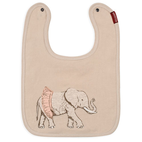 Milkbarn - Tutu Elephant Appliqué Organic Linen Bib