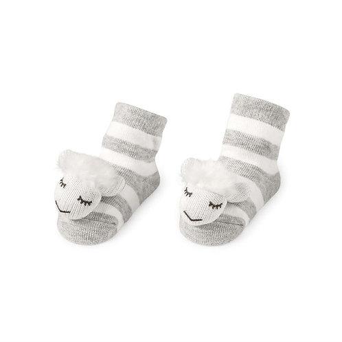 Mud Pie - Grey Sheep Rattle Toe Socks