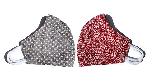Grey Dots & Red Florals - Face Mask (Adult)