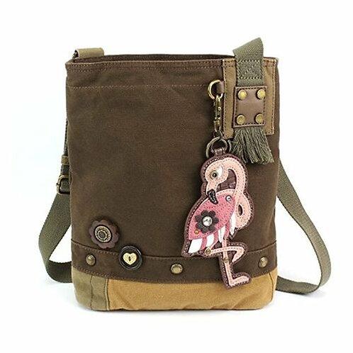 Flamingo (Brown) - Patch Crossbody Bag