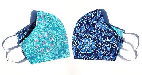 Teal Mosaic & Blue Floral - Face Mask (Adult)