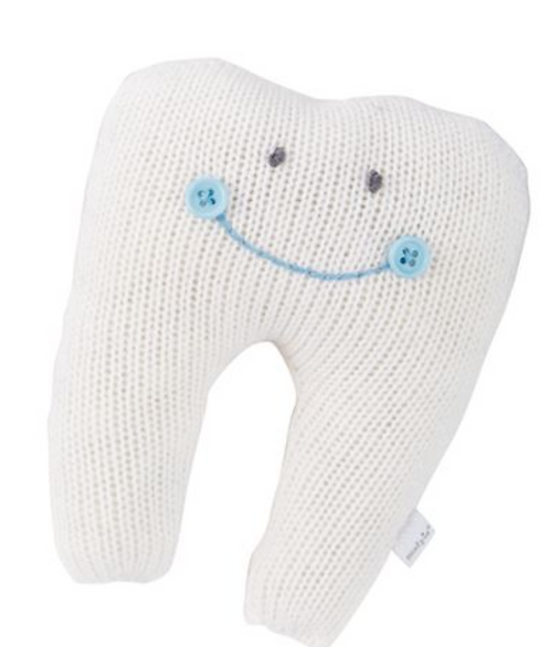 Mud Pie - Solid White with Blue Script -Tooth Fairy Knitted Pillows
