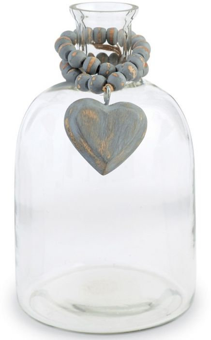 Mud Pie - Heart Blessing Bead Glass Bud Vase