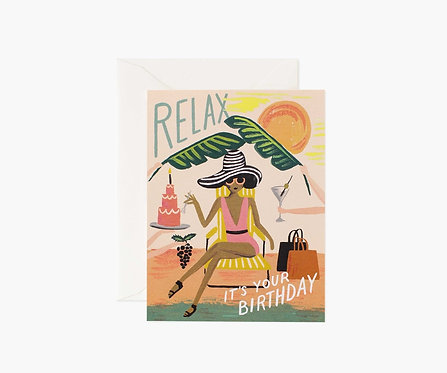 Rifle Paper - Relax Birthday Card