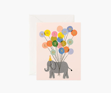 Rifle Paper - Welcome Elephant Baby Card