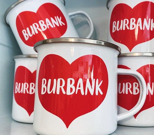 Big Red Heart Burbank Camp Mug