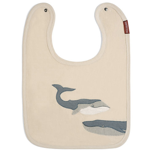 Milkbarn - Whale Appliqué Organic Linen Bib