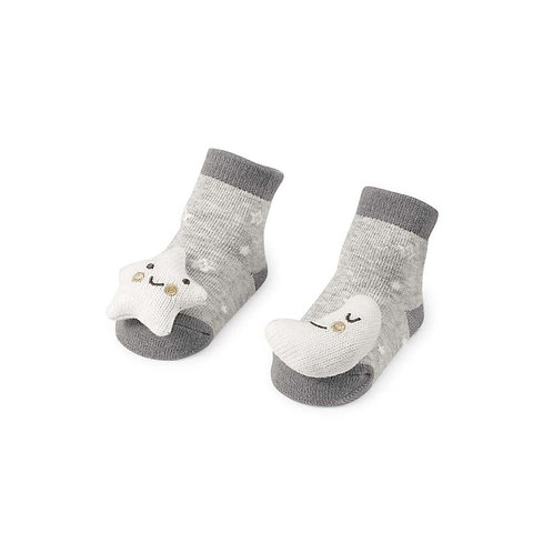 Mud Pie - Moon Star Rattle Toe Grey Socks