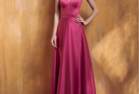 Vestido Rosa Pink Longo Liso 18383 FD