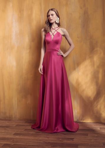 be76ec0d33 Vestido Rosa Pink Longo Liso 18383 FD
