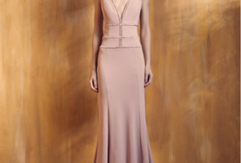 Vestido Rosa Longo Liso 18390 FD