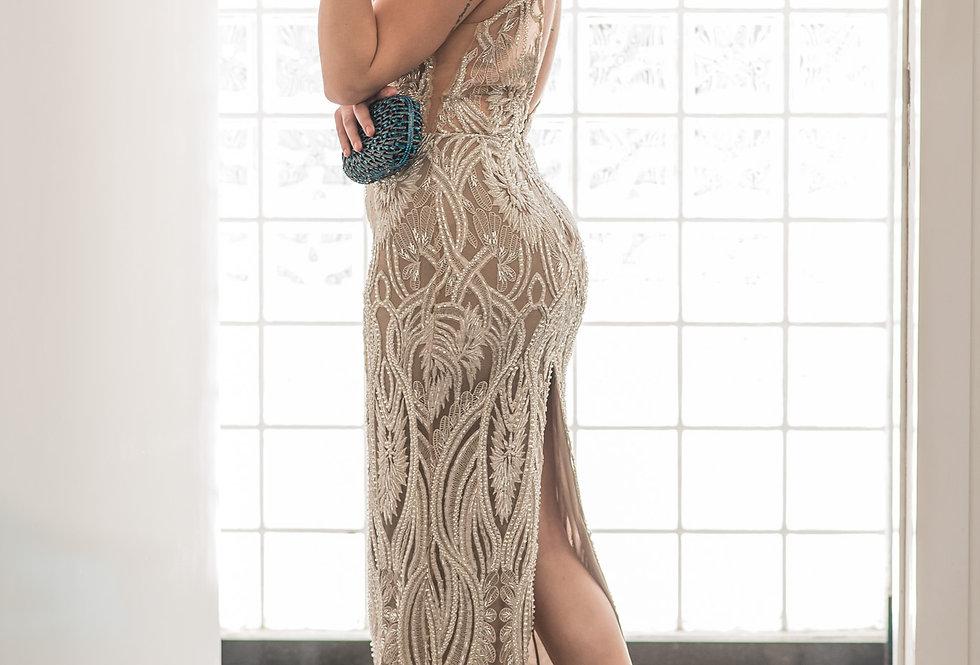 Vestido Nude Longo Bordado