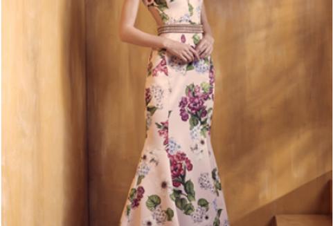 Vestido Rosa Estampado Longo Liso 18382 FD
