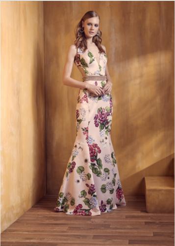 367e48d312 Vestido Rosa Estampado Longo Liso 18382 FD