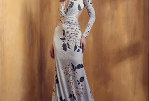 Vestido Azul Estampado Longo Liso 18349 FD