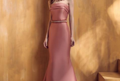 Vestido Rosa Rosê Longo Liso 18343 FD