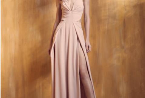 Vestido Rosa Longo Liso 18356 FD