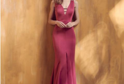 Vestido Rosa Longo Liso 18399 FD