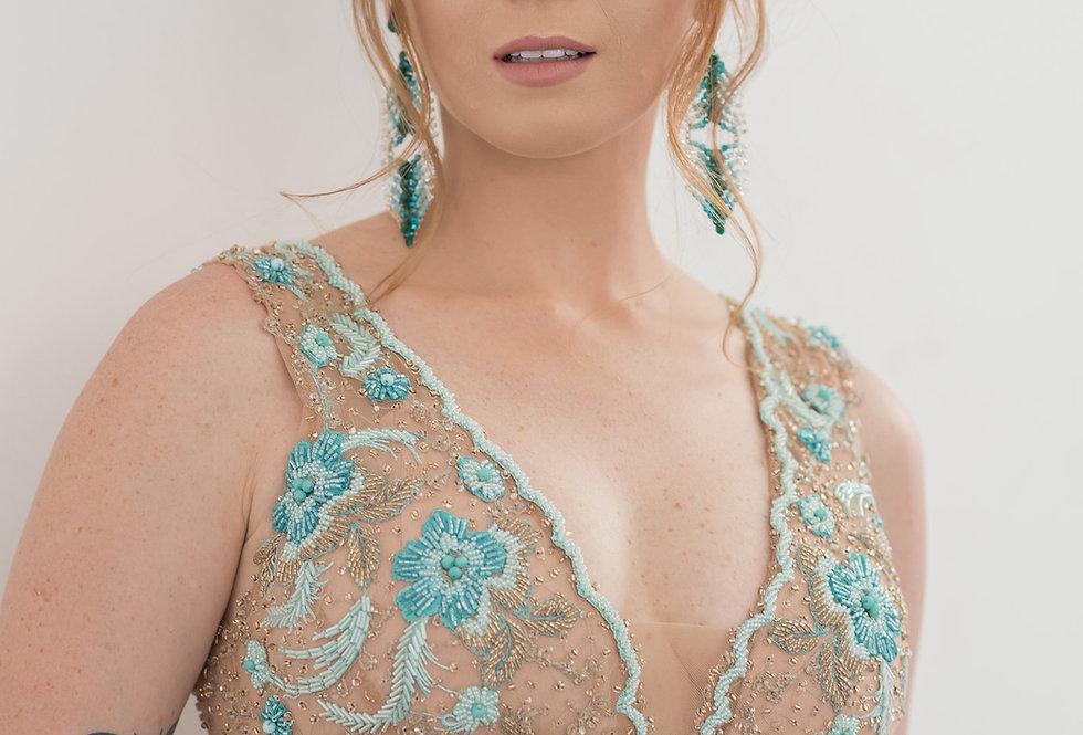 Vestido Tiffany Longo Tule Bordado