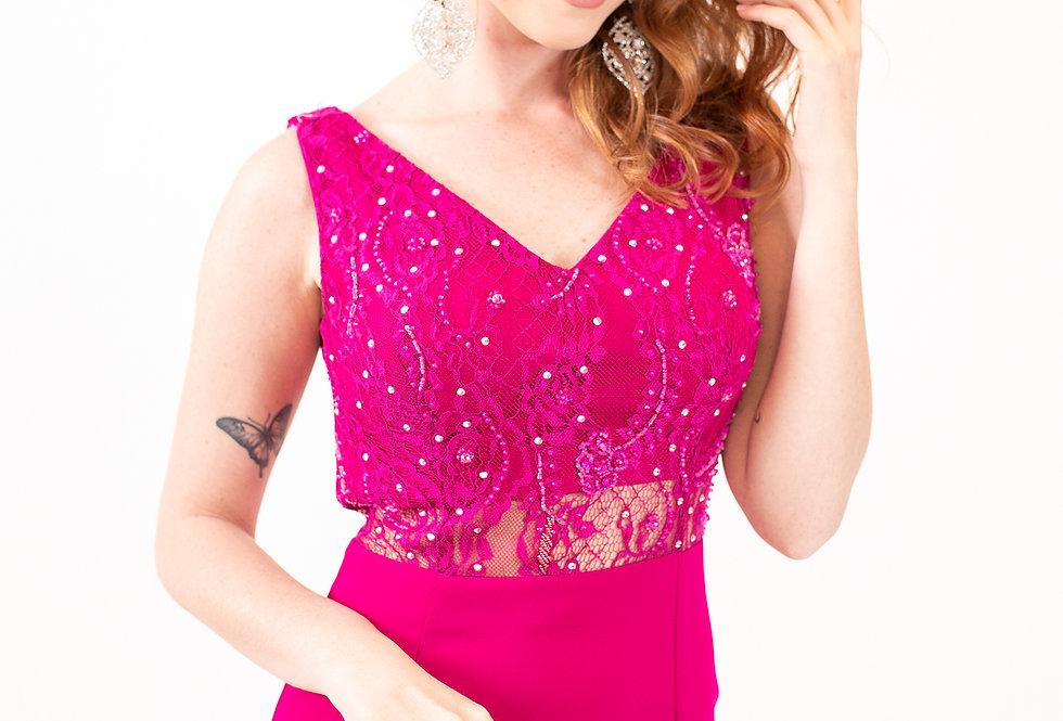 Vestido Rosa Pink Leve Bordado Longo VEI16231