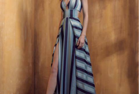 Vestido Azul Estampado Longo Liso 18353 FD