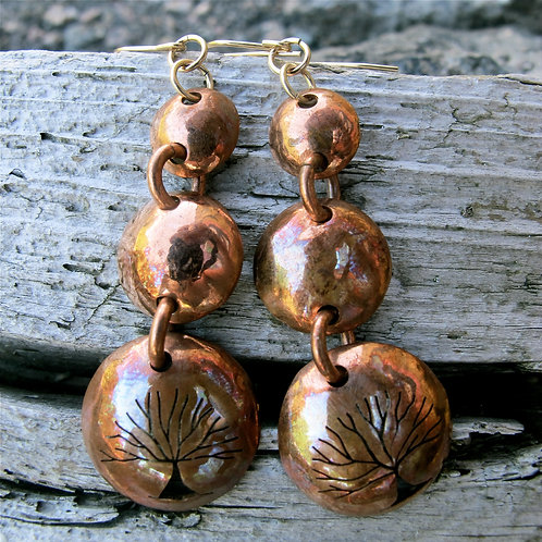 """""""Tree of life"""" Handmade recycled copper earrings"""