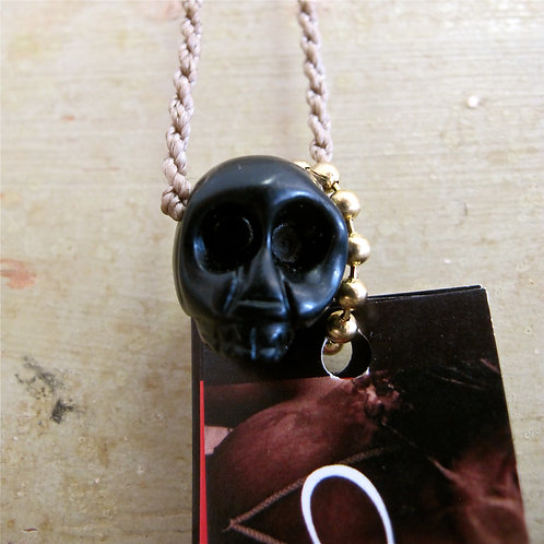 The HandCarved Onyx stone Skull Necklace