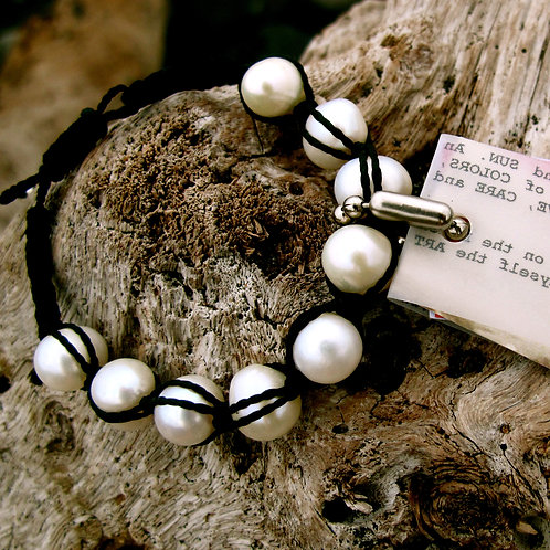 Natural white freshwater pearls twine
