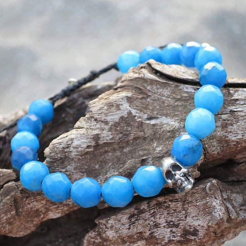 Crazy laze blue agate and metal skull