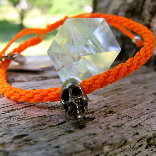 One skull pewter NEON ORANGE