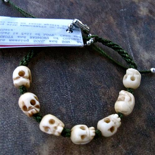 Seven skull animal Bone dark green