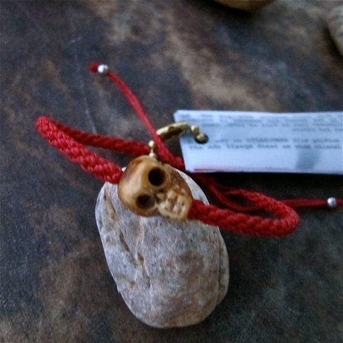 One skull animal Bone Coral red