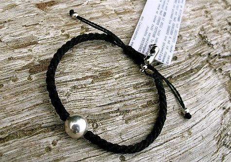 10mm Sterling silver bead twine black