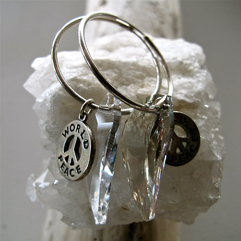 Swarovski crystal with sterling silver world peace
