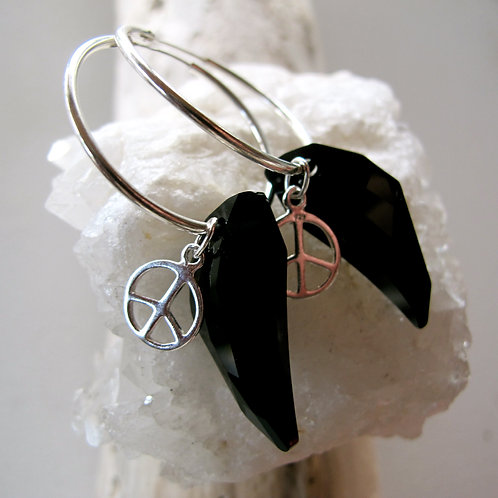 Swarovski crystals and sterling silver peace