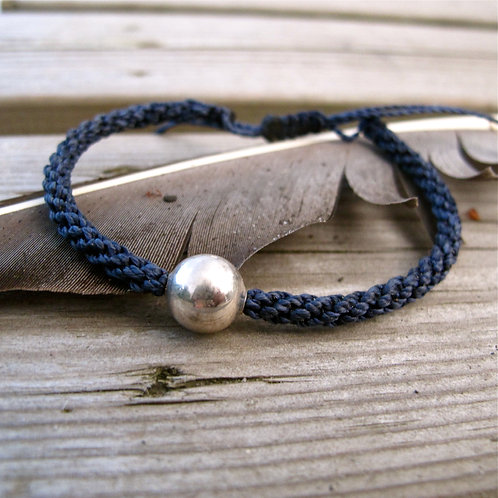 10mm Sterling silver bead twine blue