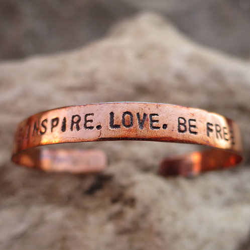 """Recycled Copper """"Shine.Inspire.Love.Be free"""""""