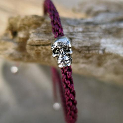 Eternal life. burgundy skull bracelet