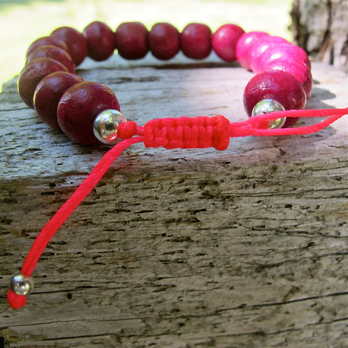 Colored wood beads from Ibiza with sterling silver