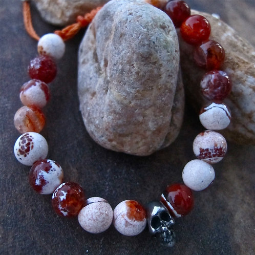 Passion- Fire crackle agate and metal skull