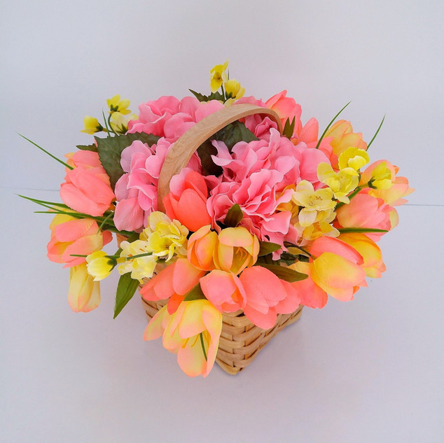 Floral Arrangement with Tulips and Hydrangea