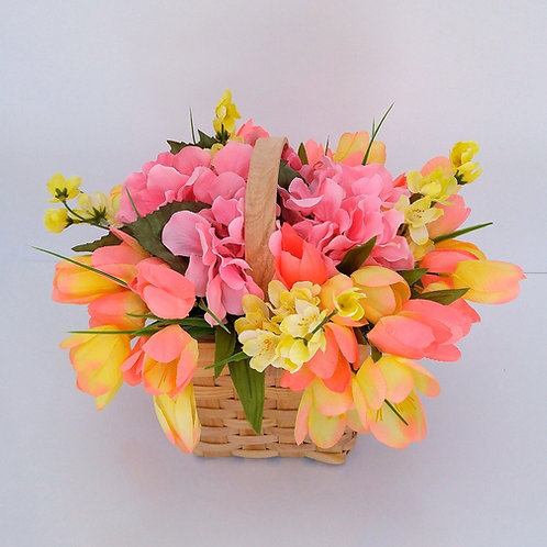 Small Basket with Tulips & Hydrangea